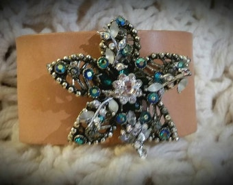 After Life Accessories Repurposed Tan Leather Cuff Star  Rhinestones Bracelet