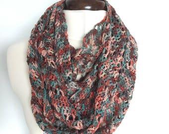 Pure MERINO Wool CROCHETED Infinity SCARF
