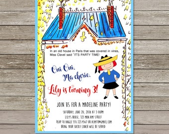 Madeline Invitation | Madeline Birthday Party | Paris Birthday Party Invitation | Printable Madeline Invitation