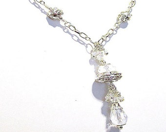 Crystal Necklace - Silver Jewelry - Wedding Jewellery - Long Chain - Ice Sparkle - Couture - Mother of the Bride - Pendant N-15