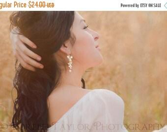 Matte Gold Triple Orchid Earrings - Simple Bridal Earrings | Hydrangea | Swarovski Crystal Pearl | Dangle Earrings | Gold Flowers