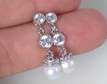 CZ Stud and Pearl drop earrings, Bridal Pearl Drop Earrings, Wedding Earrings, Bridesmaid Gift Earrings Pearls and CZ dangle earrings CZ62