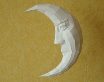 Moon, Paper Moon, printable DIY pdf template, La luna, Moon face Papercraft moon