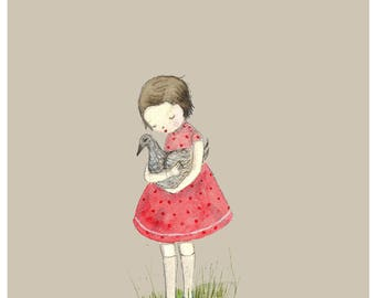 Girl with duck.  Children's print