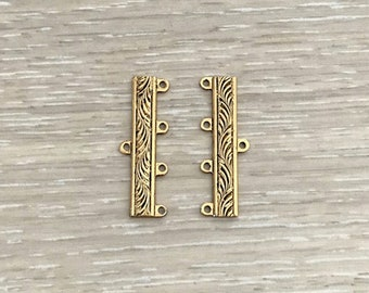 4 Strand End Bar, Gold Connector, Clasps, Gold End Bars, 33x6 mm, 7 pcs
