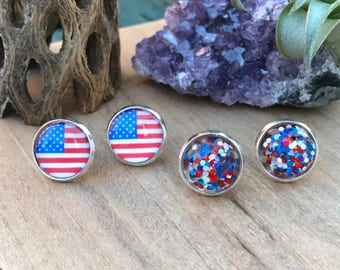 Americana Studs || 4th of July Earrings || Flag Earrings || Red White & Blue Studs || Patriotic Earrings