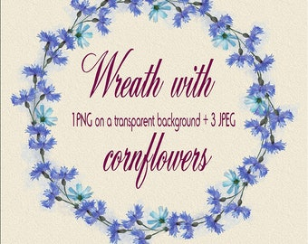 Watercolor Wreath with cornflowers, floral wreath, wreath with blue flowers, PNG on a transparent background