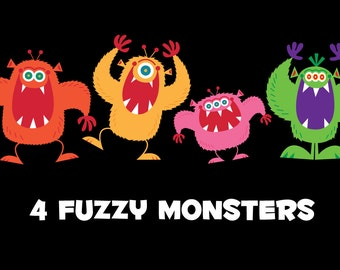 4 Fuzzy Monsters