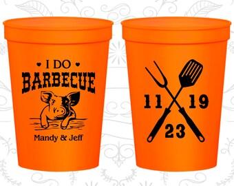 Wedding Stadium Cups, Wedding Cups, Plastic Cups, Stadium Cups, Personalized Cups, Personalized Wedding Cups, I do BBQ Cups (C46)