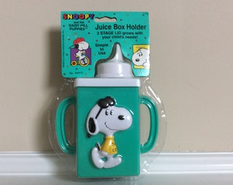 Vtg New! Snoopy Juice Box Holder 3 Stage Lid, Danara.
