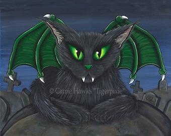 Vampire Cat Art Bela Gothic Black Cat Painting Cemetery Cat Bat Cat Dark Cat Art Print 8x10 Cat Lovers Art