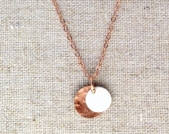 Delicate Hammered Gold Fill & Sterling Silver Disc Necklace • Personalized • Layering Necklace • Minimal • Dainty • Rose Gold Fill • Name