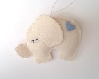 Felt elephant ornament - White elephant with blue heart - felt ornaments - Christmas ornaments - it's a boy - Housewarming - home decor