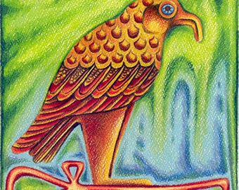 """Egyptian Design - an 8 x 10"""" ART PRINT of a super colourful Egyptian design with heiroglyphs, bird character & other symbols for a good life"""