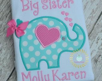 Elephant Applique shirt - Elephant big sister shirt - Big sister shirts Elephant - 12 mo 18 mo 2t 3t 4t 5 t 6 8 10