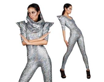 Signature Catsuit Silver, Futuristic Clothing, Holographic Bodysuit, Burning Man Clothes, David Bowie, Dancewear, EDM Rave Wear, LENA QUIST