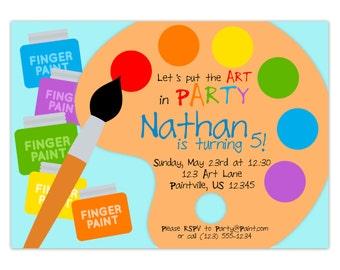 Art Party Invitation - Rainbow Paint Pallet, Little Artist Paint Brush Paint Set Personalized Birthday Party Invite - Digital Printable File