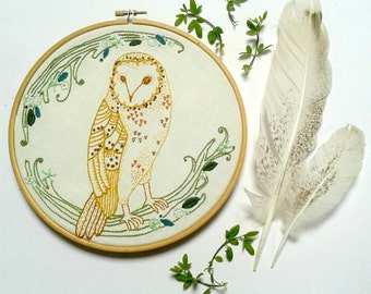 Barn Owl embroidery pattern pdf . DIY wall art. Needle work. Owl pattern .Home decor. Embroidery Wall art. Owl embroidery. Hoop art