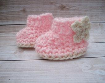 Crochet Baby Booties, Crochet Booties, Pink Baby Booties, Baby Girl Booties, Newborn Booties, Infant Girl, Baby Crib Shoes, Baby Shower Gift