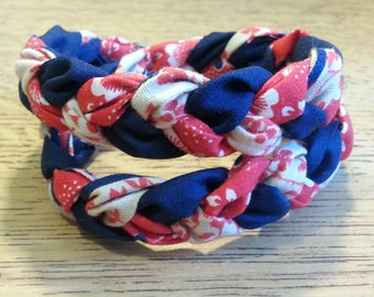 Double Braided Fabric Bracelet - Sailor's Delight - Double wrap - 3/4 inch width - Navy/Red/Cream