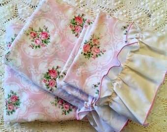 Vintage Tastemaker Cameo Rose in Pink - Twin - Fitted Flat - Standard Pillowcases - Pink Roses - Beautiful Pink Rose Bedding - Roses Cases