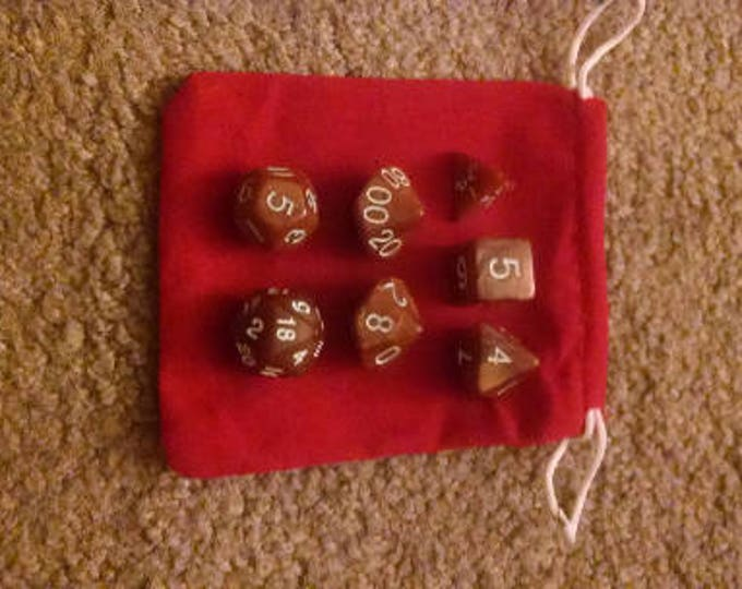 Chocolate Brown - 7 Die Polyhedral Set with Pouch