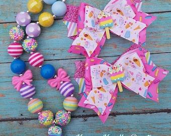 Ice cream hair bow, Ice cream parlor hair bow, Ice cream necklace, bubblegum necklace, Childerns necklace, Ice cream birthday, Ice cream