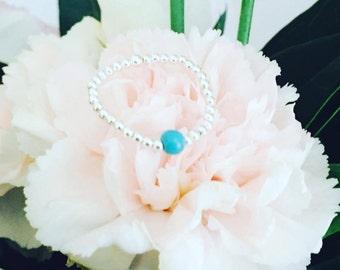 Bague Perles d'Argent 925/1000 et Perle d'Agate rose ou Perle de Turquoise