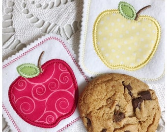 Machine Embroidery Applique Apple Coaster - Machine Embroidery Instant Download Design