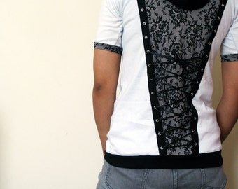 Lace panelled hoodie with corset lacing - Made to Order - Kezbirdie