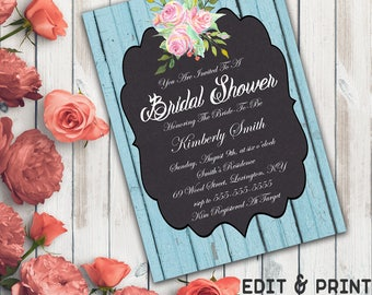 Rustic Bridal Shower Invitation, Chalkboard Bridal Shower Invitation, Rustic Wedding Shower Invite, Floral, Wood, DIY, Instant Download