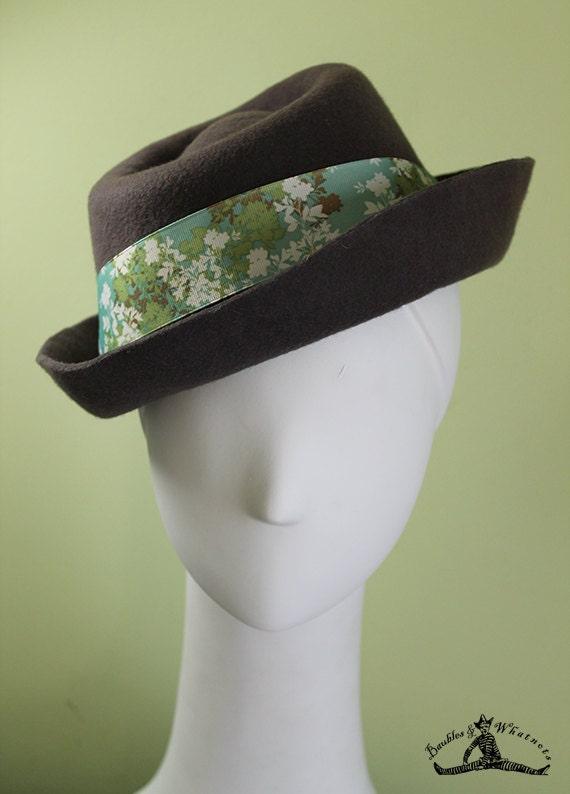 Women's Taupe Porkpie-Inspired Fall / Winter Wool Hat - Large - OOAK