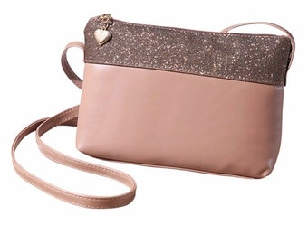 Ladies small evening clutch over body bag handbag rose gold lovely heart detail zip