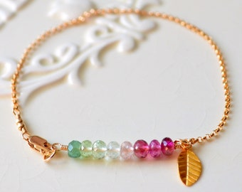 Tourmaline Bracelet, Gold Filled, Simple Jewelry, Green and Pink Shade, Genuine AAA Gemstones, Leaf Charm, Rolo Chain, Free Shipping