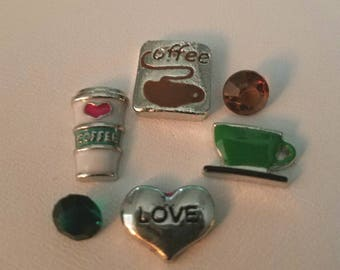 Set of 6 Coffee Lover'sTheme Floating Charms made for memory lockets