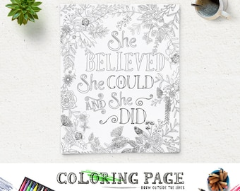 Printable Coloring Page She Believed She Could Instant Download Digital Art Bible Verse Coloring Printable  Coloring Pages Zen coloring page