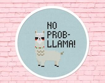 No Prob-llama Cross Stitch Pattern, Modern Simple Cute Cool Llama Sunglasses Counted Cross Stitch PDF Pattern. Instant Download