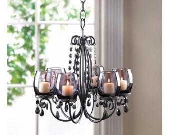 black elegant candle chandelier iron glass acrylic - Candle Chandelier