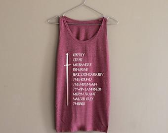Arya Stark List Shirt Arya Stark Needle Shirt Tank Top Slouchy Shirt Tee Top
