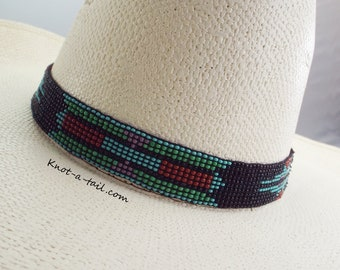 Beaded hatband, Strecth  hat band, Amazing colors, beaded Western horsehair hat band, Cowboy hat band, Rodeo, Aztec design, Stretch to fit
