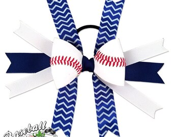 Baseball Hair Bow - Blue White Chevrons