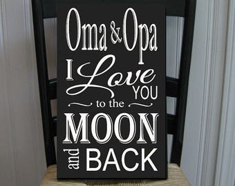 Customized Moon and Back Handpainted Wood Sign 16 x 10.5