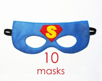 10 felt Superman Masks party pack for kids - SALE - red blue yellow - boys girls Dress Up play accessory package - Superhero Birthday party