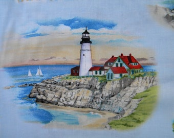 Lighthouses vignettes--fabric by the yard--Elizabeth's Studio, cotton