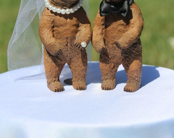 Bear Wedding Cake Topper - Mr & Mrs Bear - Bride and Groom - Rustic Country Chic Wedding
