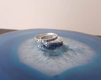 Vintage Double Religious Band Ring Sterling Silver, 925, Confirmation Size 7 1/4 R2