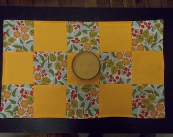 Table runner patchwork  approx 15 x 24 Goldenrod with flowers reversible.