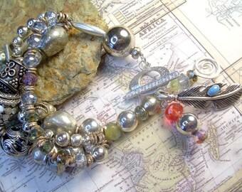 Boho Sterling Vintage Silver Plate And Brass Bead Bracelet With Czech Glass Beads