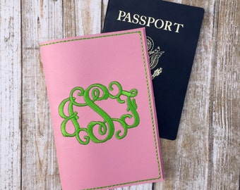 Personalized Gifts Pink Passport Cover - Travel Gift for Her - Passport Holder for Women - Monogram Passport - Faux leather Wallet Cover