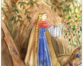 The Rose of Turaida - Latvian legend postcard